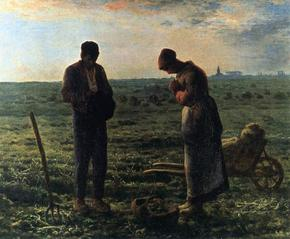 In this lovely painting, a couple working in a field pause, bow their heads, and pray the Angelus at the end of the day's work.