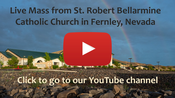 St. Robert Bellarmine Catholic Church with YouTube logo